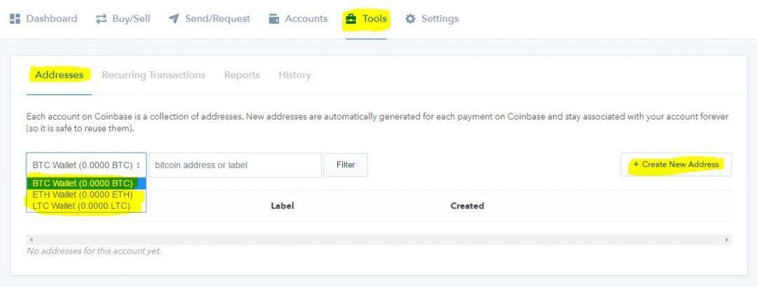 在Coinbase上创建额外的钱包