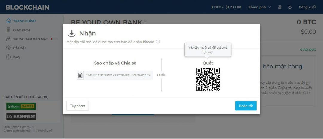 Địa chỉ ví Bitcoin của bạn