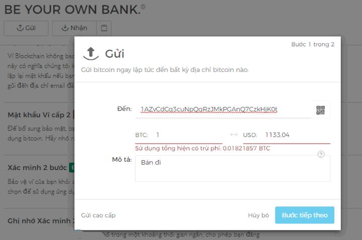 Cách gửi Bitcoin từ Blockchain.info