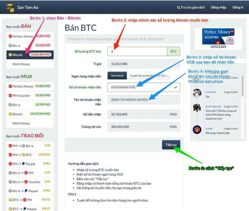 Bước 1: Bán Bitcoin trên santienao.com