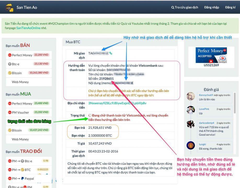 Bước 2: Mua bán Bitcoin trên santienao.com