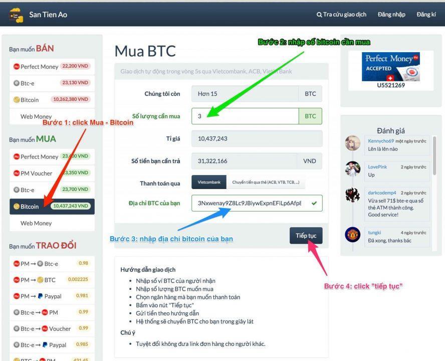 Bước 1: Mua Bitcoin trên sàn tiền ảo