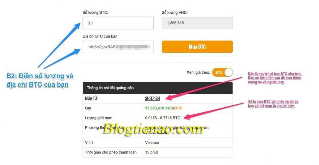 Nhập thông tin Bitcoin cần mua