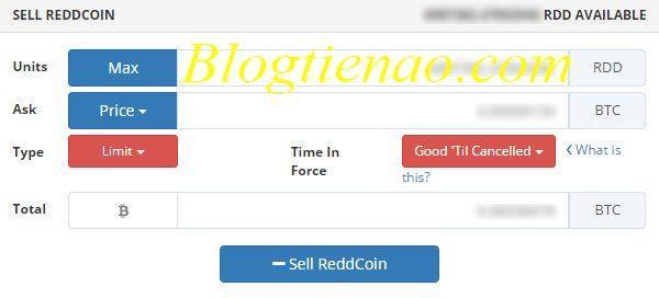Voer informatie in om Altcoin te verkopen
