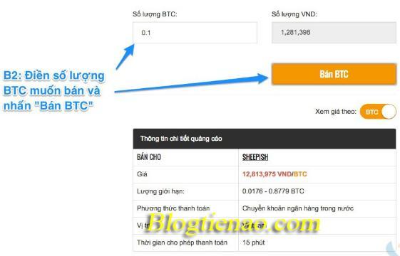 Voer de informatie in om BTC te verkopen