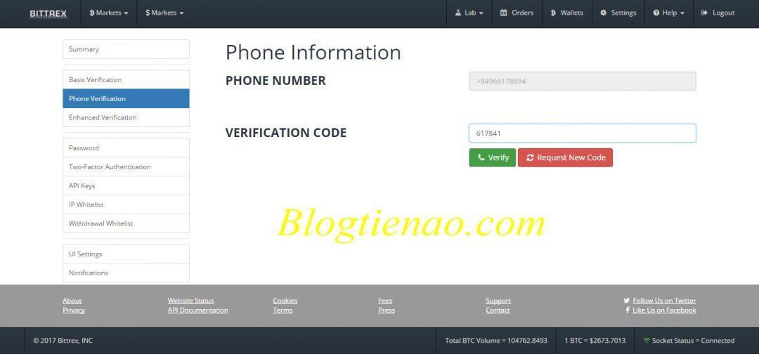 Bittrex پر فون نمبر کی توثیق کریں