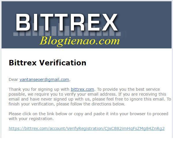 Bittrex رجسٹریشن کے لئے ای میل کی تصدیق کریں