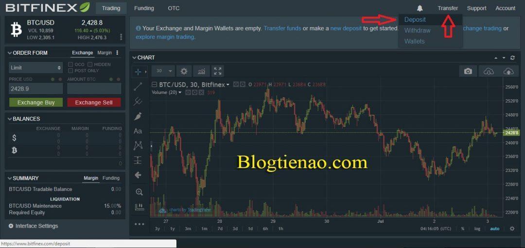 Cách tạo ví Bitfinex