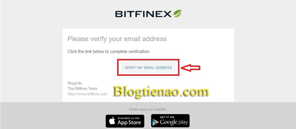 Xác nhận Email đăng ký Bitfinex