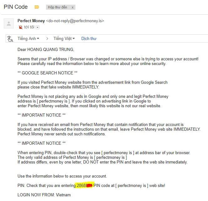 Mã pin code để đăng nhập vào perfectmoney.is