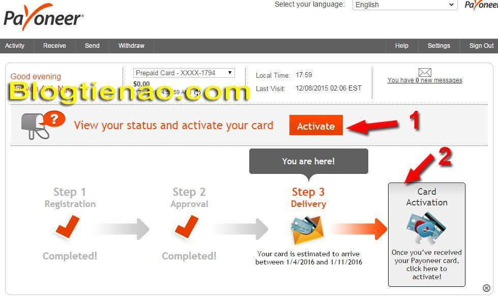 Cách Active tài khoản Payoneer. Ảnh 1