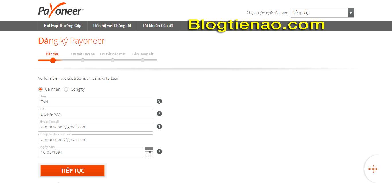 Hướng dẫn đăng ký tài khoản Payoneer. Ảnh 2