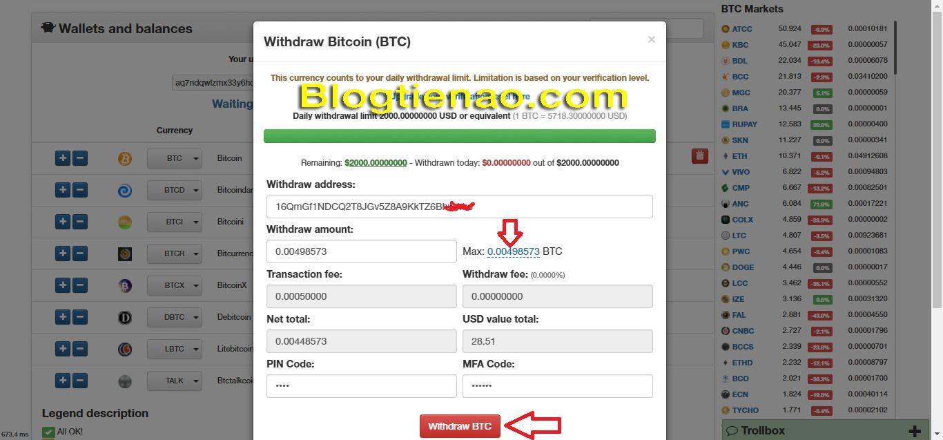 Cách rút BTC về ví Remitano bán ra VNĐ. Ảnh 2
