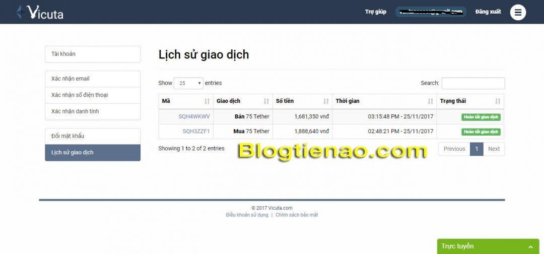 Historie transakcí Vicuta.com