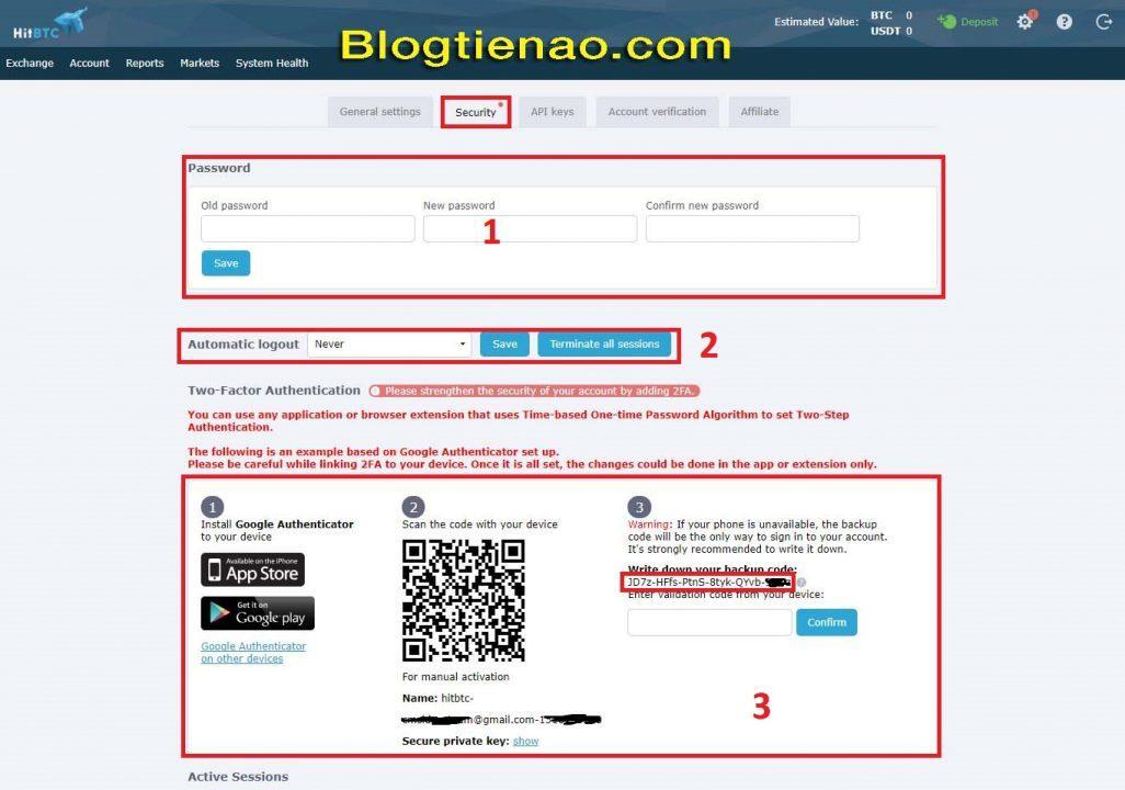 Zabezpečení účtu HitBTC. Foto 2