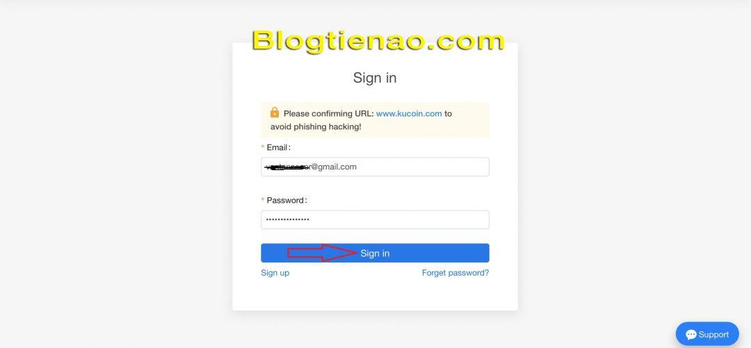 قم بتسجيل الدخول إلى KuCoin. الصورة 2