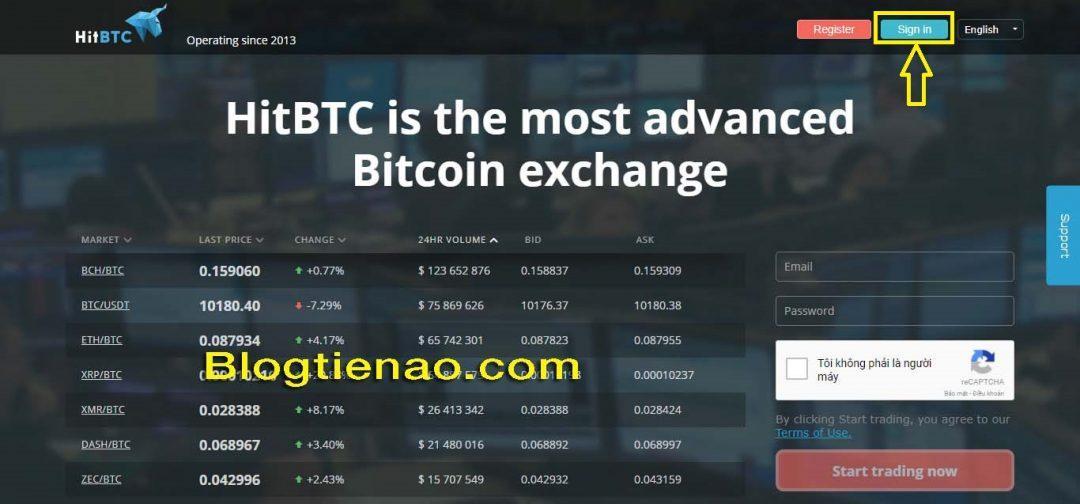 Přihlaste se na platformu HitBTC. Foto 1