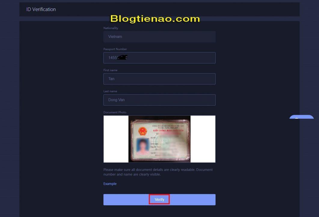Verify identity with Huobi. Photo 2