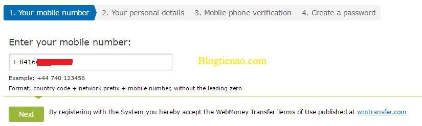 Nhập số điện thoại đăng ký WebMoney