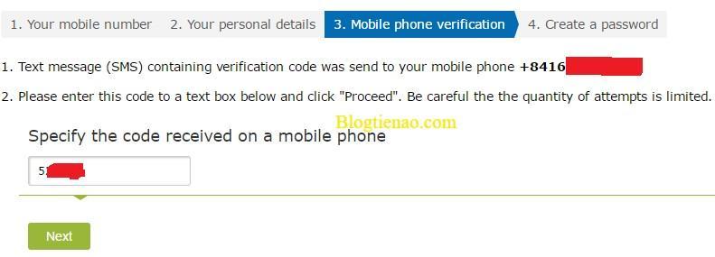 Điền mã xác nhận số điện thoại WebMoney