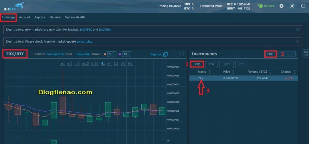 Cách mua bán giao dịch trên HitBTC. Ảnh 1