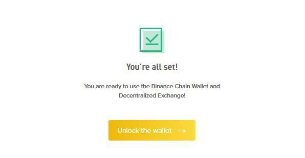 Vytvořte Binance Dex peněženku úspěšně