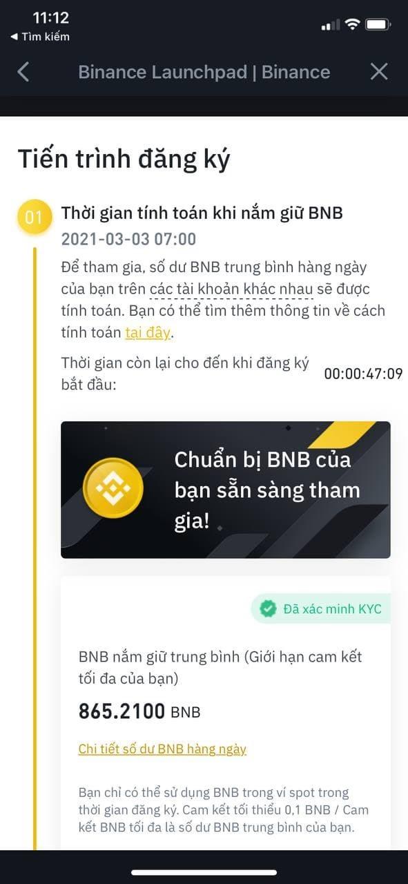 Timp de calcul la menținerea BNB