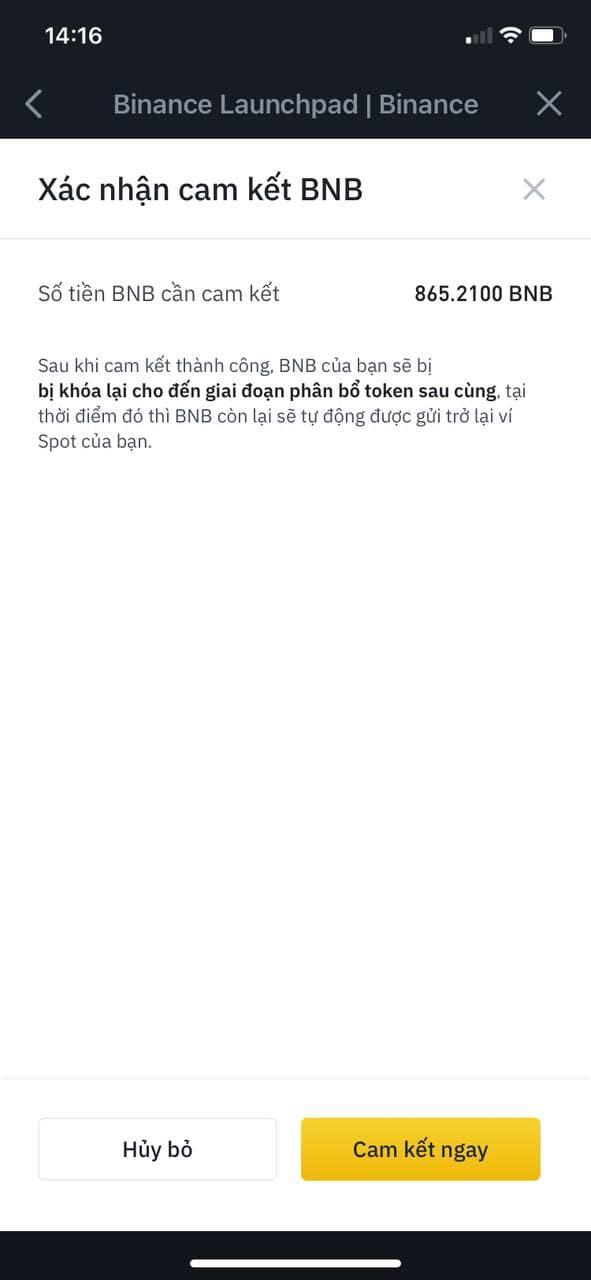 Confirmați angajamentul BNB