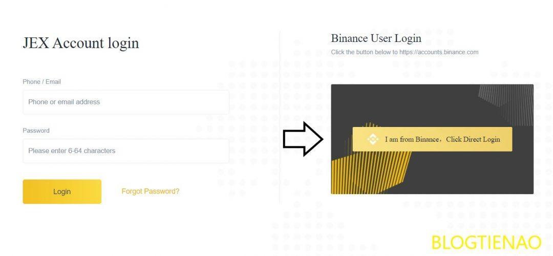 Đăng nhập với tài khoản Binanace