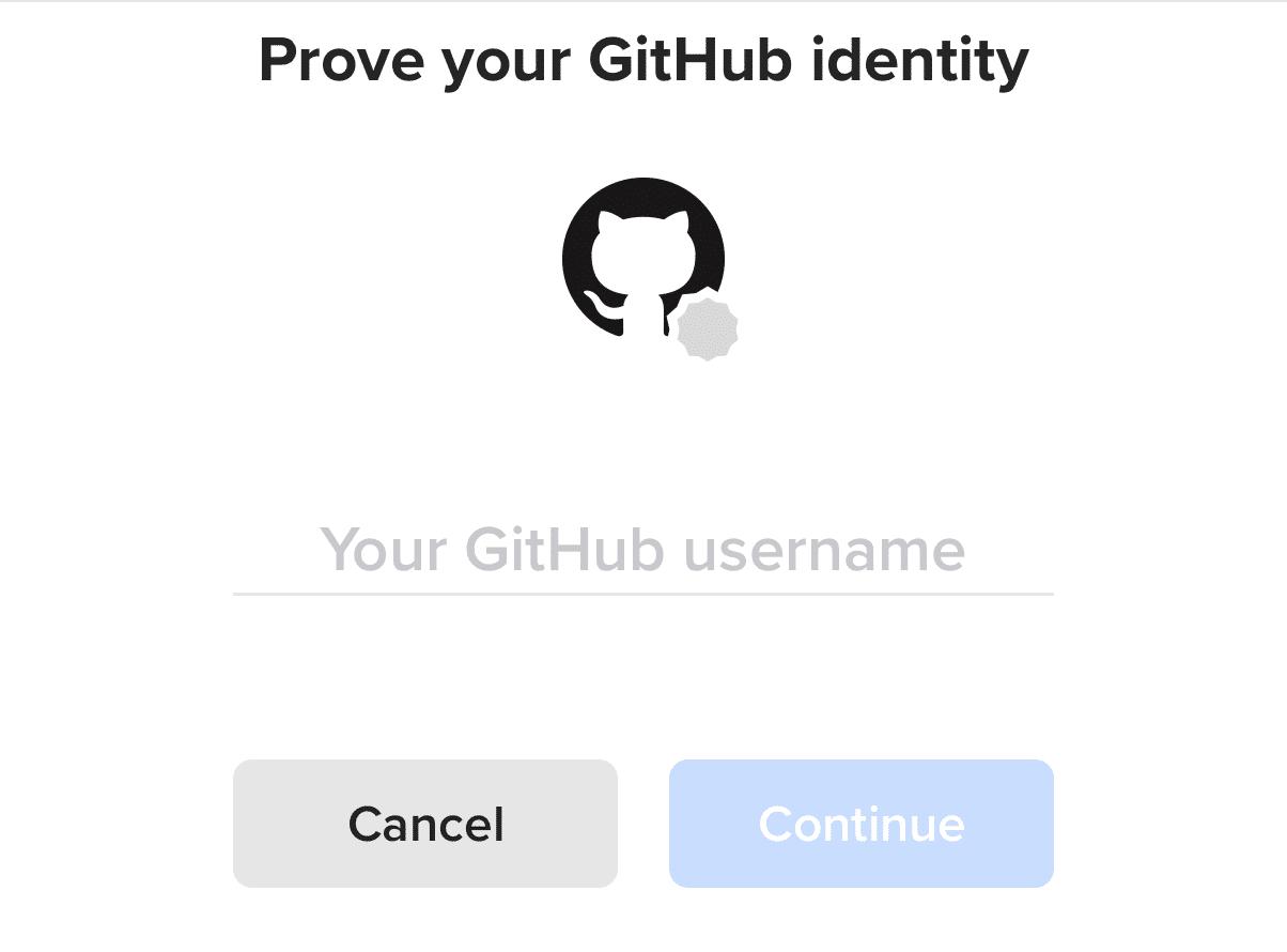 Nhập tên tài khoản Github