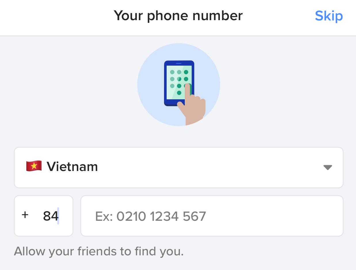 Nhập số diện thoại