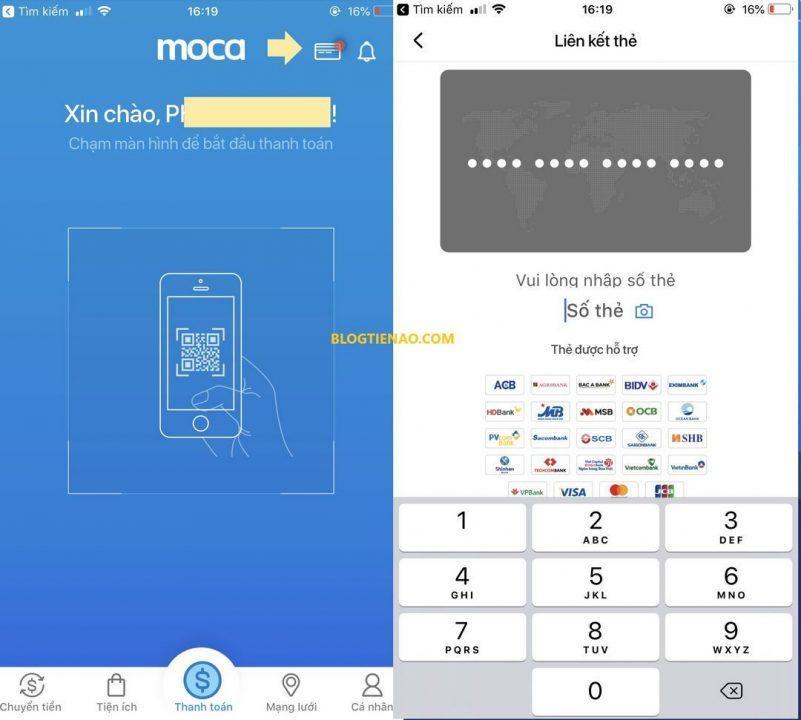 Liên kết thẻ ATM với ví Moca