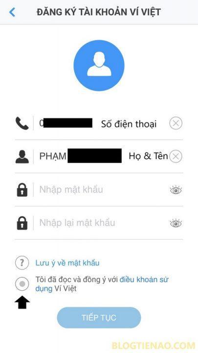 Форма регистрации аккаунта Vi Viet