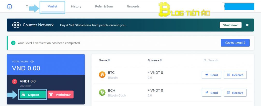 قم بالإيداع لشراء وبيع Bitcoin على Coinhako