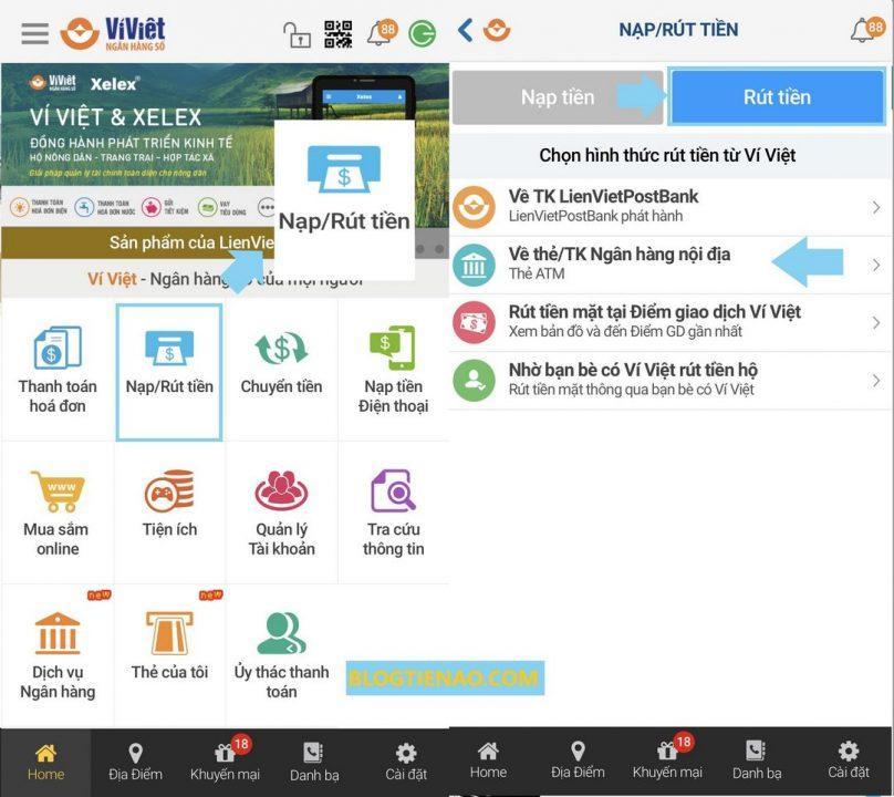 Rút tiền từ Ví Việt về thẻ ATM