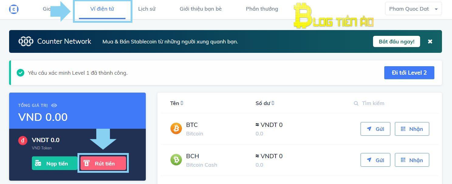 سحب VND من Coinhako Exchange إلى حساب مصرفي