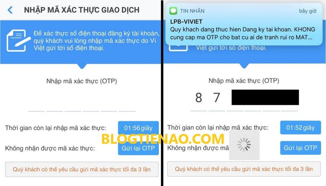 Аутентификация учетной записи Vi Viet