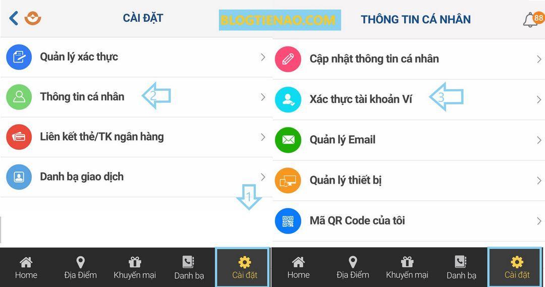 Xác thực tài khoản Ví Việt