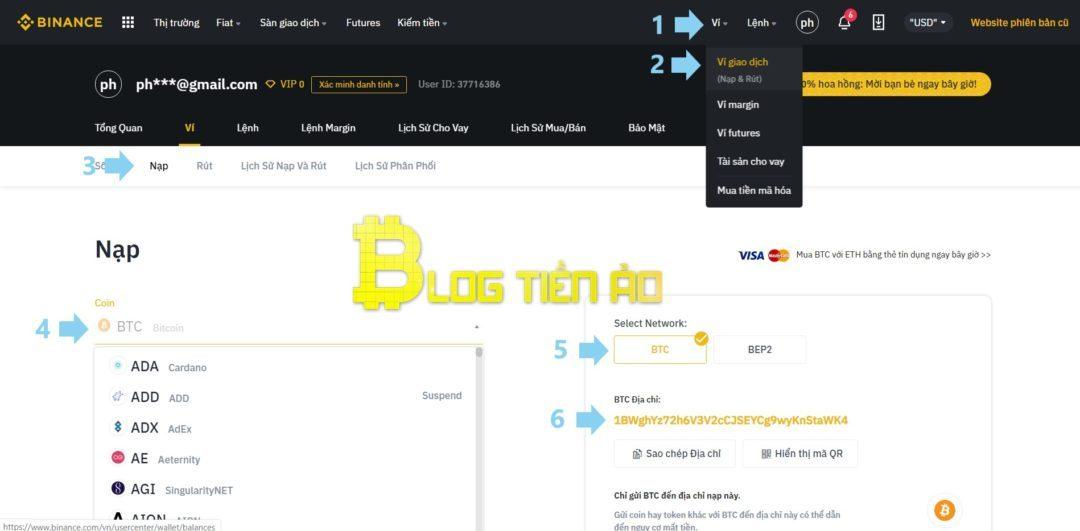 Depositare monete nella piattaforma Binance