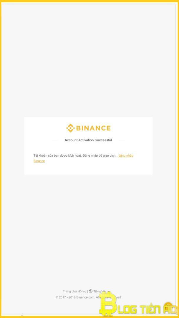 Registrazione dell'account binance eseguita correttamente