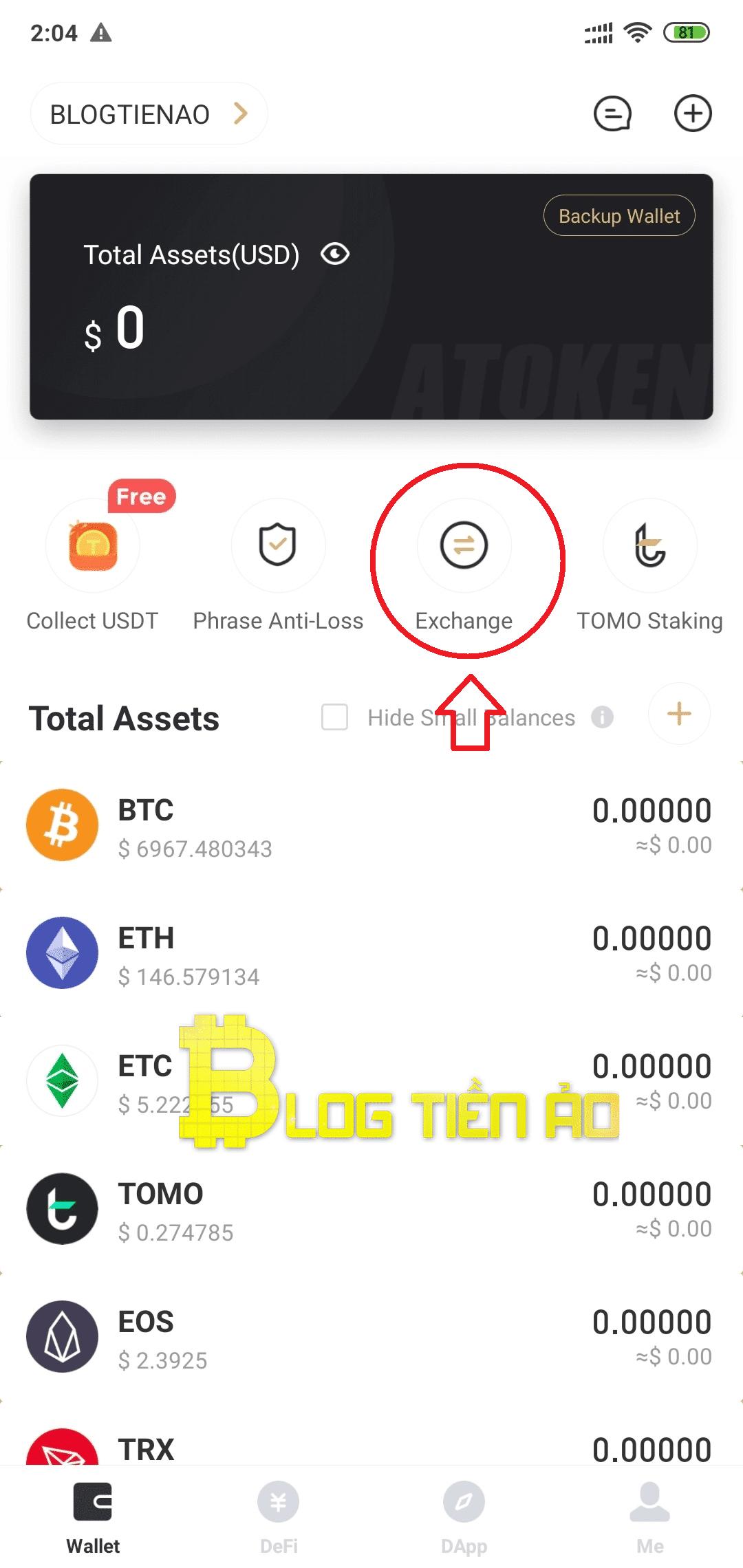 Use swap on the atoken wallet