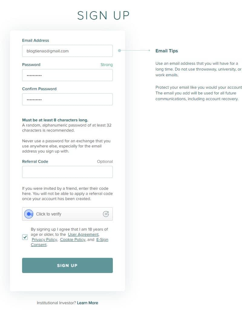 Điền mail password poloniex