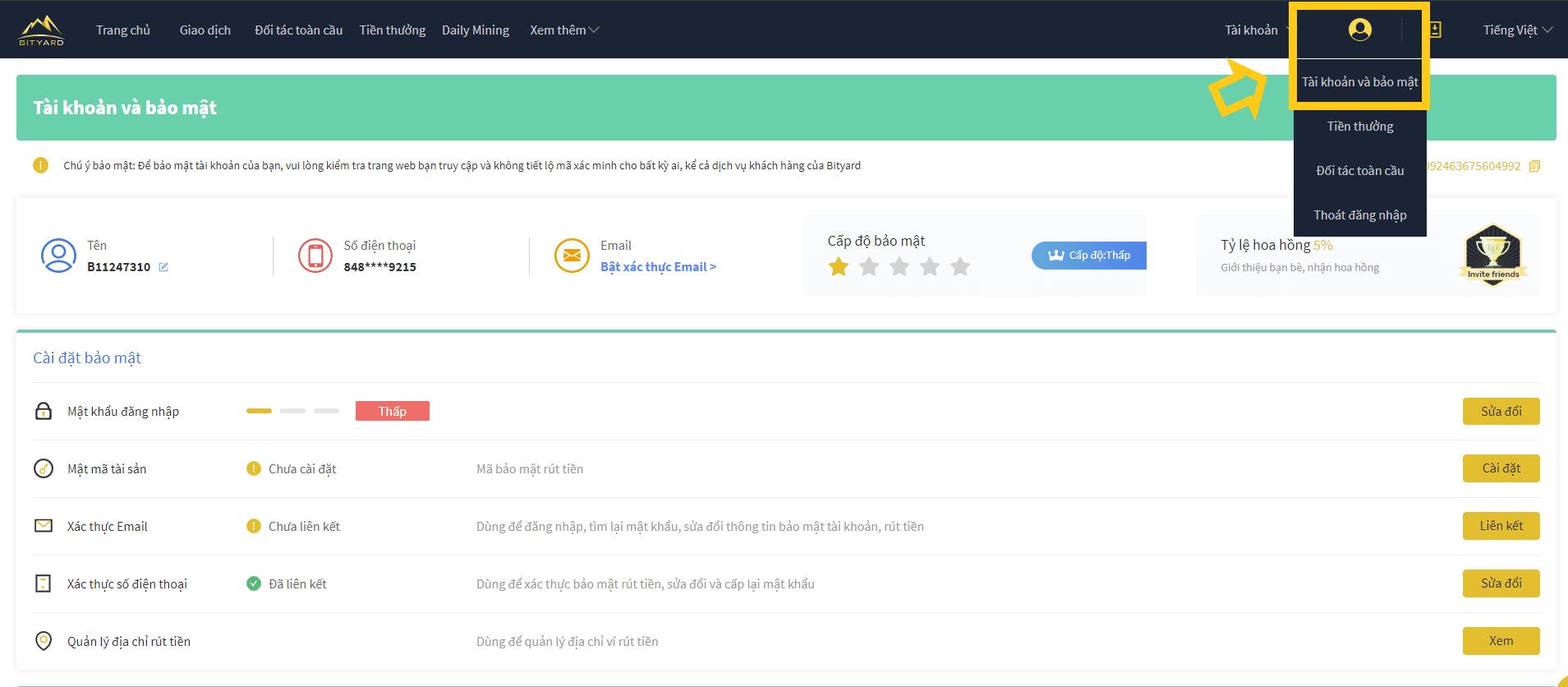 Bảo mật tài khoản Bityard