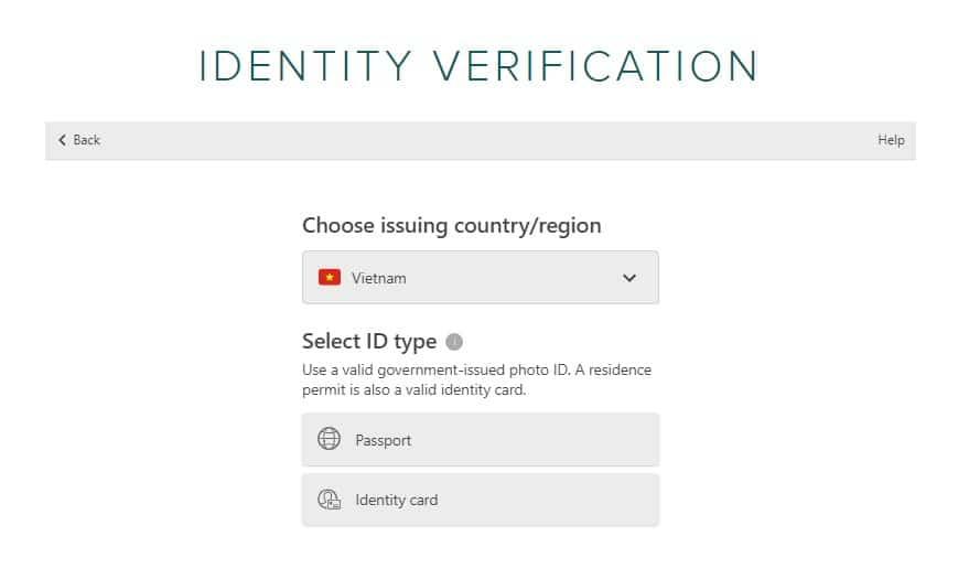 chọn passport hoặc indentity card