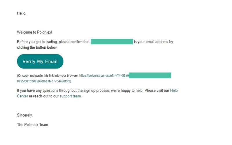 confirm email poloniex