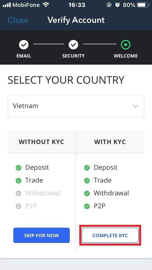 Проверьте KYC