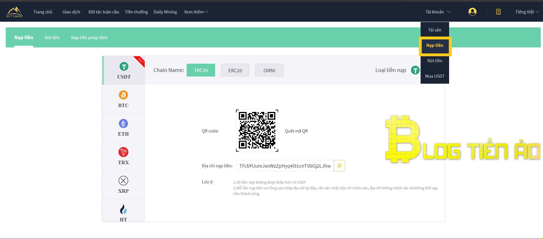 Nạp tiền vào tài khoản Bityard