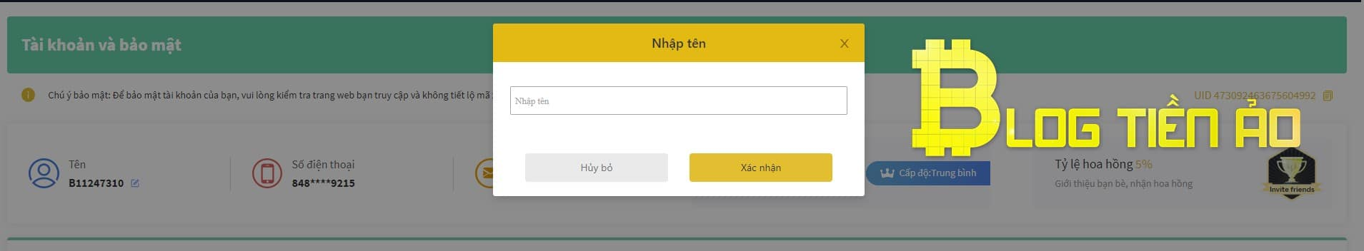 Sửa đổi username nhận 1 USDT