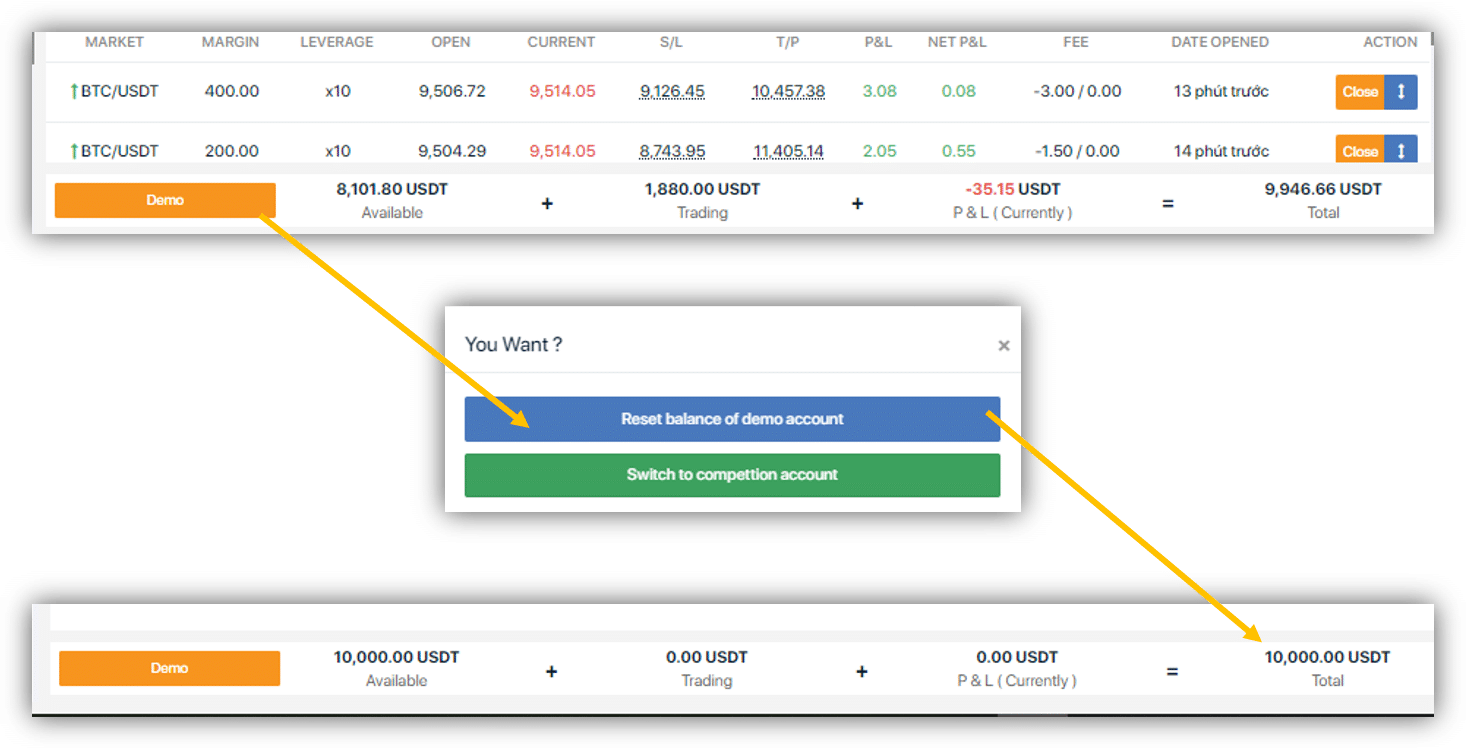 reset the demo account balance