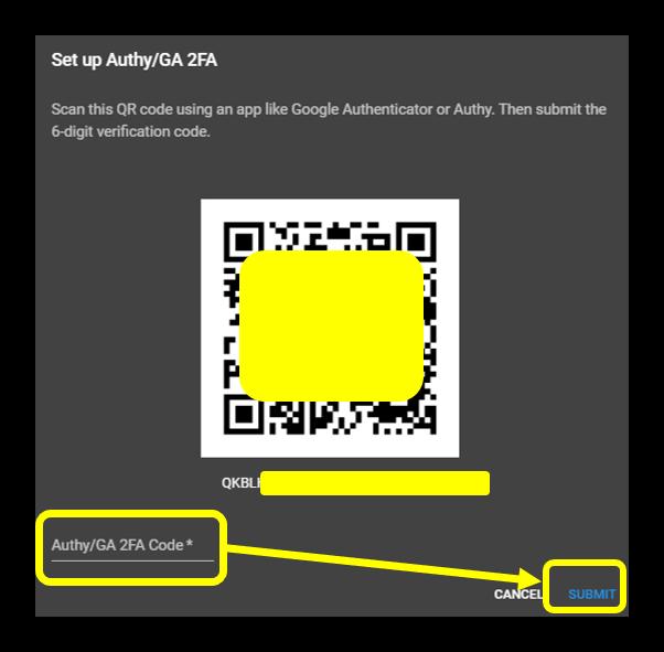 Voer de code in en klik op verzenden om 2fa in te schakelen